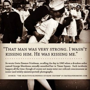 That man was very strong. I wasn't kissing him.