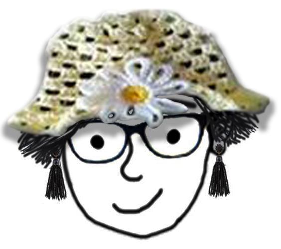 cartoon drawing of Dr. Robinson with short hair, glasses, and a crochet hat (yellow, with a daisy on the front)